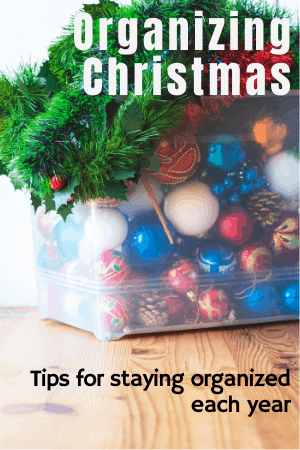 Bin of ornaments and Christmas decorations