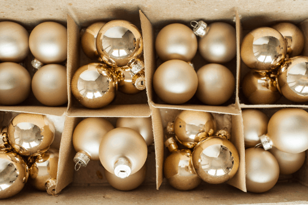 Gold ornaments in boxes