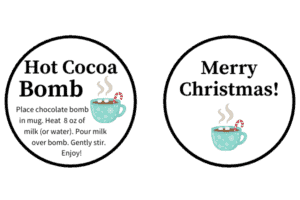Cocoa bomb gift tags with candy cane in blue cup