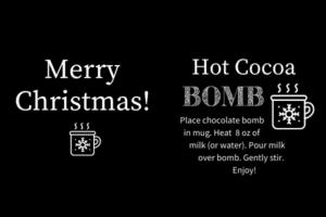 Black Cocoa bomb gift tags white
