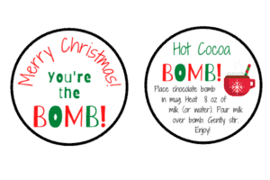 You're the bomb! gift tags red green