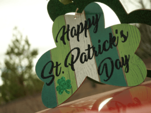 St. Patricks day sign green and white
